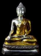 พระพุทธรูปสมัยเชียงแสน สิงห์หนึ่ง เนื้อเงินชุบทองคำ