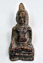 พระหูยาน เนื้อชินตะกั่วสนิมแดง หลังลายผ้า กรุวัดพระศรีรัตนมหาธาตุ จ.ลพบุรี No.2214