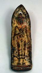 พระร่วง หลังลายผ้า เนื้อชินตะกั่วสนิมแดง กรุวัดพระศรีรัตนมหาธาตุ จ.สุโขทัย No.2236