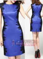 โคสท์ เดรสหรูออกงานแขนกุด เดรสสาว CEO working woman ใส่ทำงาน ผ้าซาตินสีน้ำเงินปักลายเส้นสีดำข้างลำตัว Heavy Embroidery Stitching Slim Sleeveless Dress พร้อมส่ง 3 ไซส์ค่ะ  uk10 uk12 และ uk14