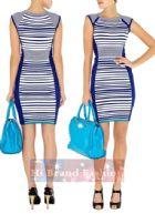 คาเรน มิลเลน เดรสสั้้นทรงสลิมแขนสโลป ผ้านิตยืดพิมพ์ลายแถบเส้นขวางสีน้ำเงินขาวสลับกัน แต่งดุม ตัดต่อแถบสีน้ำเงินจับเดรปข้างลำตัวใส่เซ็กซี่ Round Neck Stripe Knit Blue พร้อมส่ง size uk10