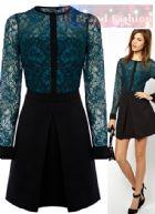 คาเรน มิลเลน เดรสสั้นแขนยาว ผ้าลูกไม้สีสวย สีฟ้าเทอร์ควอยซ์ปักเส้นดำรอบลายดอกไม้ ซับในเกาะอก ตัดต่อกระโปรงทรง A จีบหน้าสีดำ DR193 Green Long Sleeve Faux Lace Blouse A-line Dress พร้อมส่ง size uk10