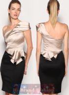 คาเรน มิลเลน เดรสใส่ออกงาน ชุดราตรีไหล่เดี่ยว ผ้าซาตินเบจดำทูโทนจับเดรปหรูหรา Limited edition beige black signature stretch peplum Dress พร้อมส่ง3ไซส์ค่ะ size uk10 uk12 และ uk14