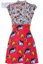 มิว มิว เดรสผ้าซาตินพิมพ์ลายทรง A แขนสั้น ตัดต่อเล่นลายสีสันสดใสทั้งหน้าและหลัง Floral Printed Cady Mini Dress พร้อมส่งครบ 5 ไซส์ค่ะ