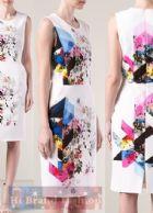 พรีน/คาเรน มิลเลน เดรสใส่ออกงานแขนกุด ผ้าเนื้อเนียนนิ่มสีขาวพิมพ์ลายรูปวาดดอกกุหลาบบนแถบสีกราฟฟิคหวานๆ  AL587 White Multi Robes Issy  Print Dress พร้อมส่ง 3 ไซส์ค่ะ uk8 uk10 และ uk14