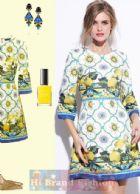 ดีแอนด์จี/โดลเช่ แอนด์ แกบาน่า เดรสทรง A แขนยาว ผ้าแจ็คการ์ดสีขาวพิมพ์รูปมะนาวเหลืองกับลายแพทเทอร์นตัดขอบน้ำเงิน สวยโดดเด่นสไตล์ซิซิลี Yellow Lemon Print Jacquard Mini Dress พร้อมส่ง 3 ไซส์ค่ะ 36 38 40