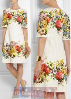 ดีแอนด์จี/โดลเช่ แอนด์ แกบาน่า เดรสทรง A แขนยาว ผ้าแจ็คการ์ดสีขาวพิมพ์รูปดอกไม้หลายสีสวยๆ ค่ะ Floralbrocade Print Jacquard Dress พร้อมส่ง 2 ไซส์ค่ะ 36 กับ 38