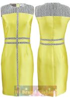 เจ เมนเดล/แอนน์ ไคลน์ เดรสใส่ออกงาน ผ้าเครปซาตินสีเหลืองสดตัดแต่งผ้าลูกไม้ลายกราฟฟิคสีขาวดำลุคเก๋ที่ควรเล็งไว้ใส่ในงานต่อไปค่ะ Graphic Lace Yellow Dress พร้อมส่ง 3ไซส์ us4 6 และ 12