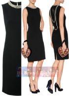 มอสชิโน เดรสใส่ออกงานแขนกุด ผ้าจอร์เจียสีดำปักลูกปัดมุกรอบคอและเรียงร้อยพาดโค้งไปด้านหลังคล้ายใส่สร้อยระย้า บั้นท้ายจีบนิดดูสวยสง่างาม 2520 Pearl Collar Black Sheath Dress พร้อมส่ง 3ไซส์ค่ะ uk8 uk14 และ uk16