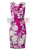 ลอเร็น สก็อตต์/โคสท์ เดรสใส่ออกงาน แซคแขนกุด คอ V ผ้าเนื้อบางมีลายในตัวสีชมพูเข้มจัดพิมพ์ลายวาดดอกไม้ใหญ่สีขาวแต่งเต้มเกสรสีเหลือง สีสดแจ่มสวยเด่นๆ 2610 Floral Print Dress พร้อมส่ง size uk14