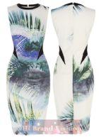 คาเรน มิลเลน เดรสแขนกุดทรงสลิมสีขาวพิมพ์ลายปาล์มกับสายน้ำ ตัดแต่งรอบคอและข้างเอวด้วยผ้าลื่นสีดำ ML105 DS176 Tropical Print Shift Dress พร้อมส่ง 3 ไซส์ค่ะ uk10 uk12 และ uk14
