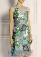โจนาธาน ซอนเดอร์ส/คาเรน มิลเลน เดรสหรูออกงาน ผ้าแก้วซีทรูสีเขียวมิ้นท์ปักลายดอกไม้ใหญ่หลายสีอย่างประณีตทั้งตัวเย็บติดชุดซับในสายเดี่ยวสีเขียวอ่อนจาง Mint Green Stephanie Embroidered Tulle Dress พร้อมส่ง 2 ไซส์ค่ะ uk12 กับ uk16