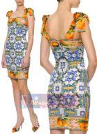 ดีแอนด์จี/โดลเช่ แอนด์ แกบาน่า เดรสใส่ออกงานสายเดี่ยว ผ้ายืดพิมพ์ลายผลส้มกับรูปกราฟฟิค ใส่สบายน่ารักสดใสค่ะ DS208 Bow Shoulder Oranges Tile Print Dress พร้อมส่ง 3 ไซส์ค่ะ 36 38 และ 42
