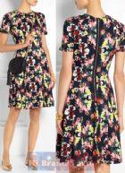 เออร์เดม/คาเรน มิลเลน เดรสใส่ออกงานแขนสั้น ผ้าแพรเนื้อลื่นสีดำพิมพ์รูปดอกไม้วาดหลากสีสัน โชว์ซิปทองกลางหลัง กระโปรงบานสไตล์ย้อนยุค 9182 Armel Floral Print Stretch Dress พร้อมส่ง 3 ไซส์ค่ะ uk8 uk10 และ uk16