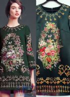 ดีแอนด์จี/โดลเช่ แอนด์ แกบาน่า เดรสใส่ออกงานทรง A แขนยาว ผ้าซาตินสีเขียวเข้มพิมพ์ลายรูปดอกไม้วาดและดอกกุญแจ โทนสีสวยคลาสสิควินเทจ จาก collection 2014 Fall Autumn Winter 745 Top Style Floral and Key Print Dress พร้อมส่ง 4 ไซส์ค่ะ 36 38 40 และ 44