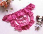 กางเกงในเปิดก้นผ้าลูกไม้สีชมพูเข้ม ด้านหน้าเป็นผ้ามีลายระยิบระยับ