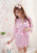 ชุดคลุมชุดนอนสีชมพูผ้าลื่น