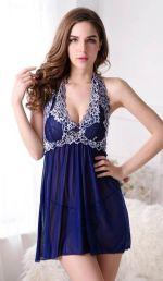 ชุดนอนเซ็กซี่สำหรับคนอ้วนสีน้ำเงินผ้าซีทรูบางๆ ผ้านิ่มเนื้อดี สายคล้องคอลายปักดอกไม้สีขาว