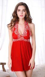 ชุดนอนเซ็กซี่สำหรับคนอ้วนสีแดงผ้าซีทรูบางๆ ผ้านิ่มเนื้อดี สายคล้องคอลายปักดอกไม้สีขาว