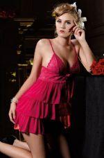 ชุดนอนเซ็กซี่สีชมพูเข้มผ้านิ่มเนื้อดีมาก ๆ หน้าอกลูกไม้กระโปรงปลายเฉียงเป็นชั้นๆ