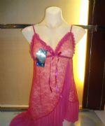 ชุดนอนเซ็กซี่ผ้าซีทรูสีชมพูเข้มชายกระโปรงเฉียงๆ