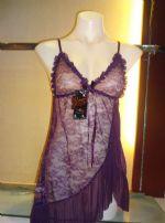 ชุดนอนเซ็กซี่ผ้าซีทรูสีม่วงชายกระโปรงเฉียงๆ