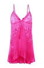 ชุดนอนเซ็กซี่สีชมพูเข้มผ้าลูกไม้ที่หน้าอกและด้านข้าง