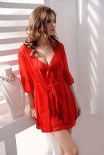 ชุดนอนเซ็กซี่สีแดงพร้อมชุดคลุม ผ้าซีทรูบางๆ