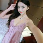 ชุดนอนเซ็กซี่ผ้าลื่นสีชมพูถั่ว