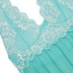 ชุดนอนเซ็กซี่สำหรับคนอ้วนสีเขียวผ้าซีทรูบางๆ ผ้านิ่มเนื้อดี สายคล้องคอลายปักดอกไม้สีขาว