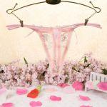 กางเกงในผ้าลายปักดอกไม้สีชมพูสวยมากๆ