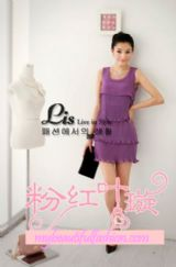 เสื้อผ้าแฟชั่น: dress version เกาหลีระบายพลีททั้งตัว