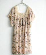 เสื้อผ้าแฟชั่นพร้อมส่ง : dress ลายดอกคอเหลี่ยมเดินลูกไม้