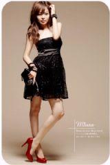 เสื้อผ้าแฟชั่น: dress เกาะอกสีดำหรู ปักเหลื่อม