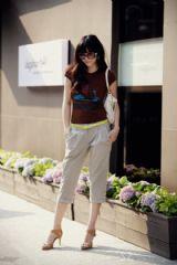 เสื้อผ้าแฟชั่น : กางเกงสามส่วนสีกากี summer casual