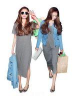 เสื้อผ้าแฟชั่น เสื้อผ้าเกาหลี เดรสยาวกระเป๋าหน้าอกสามเหลี่ยม