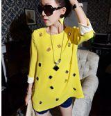 เสื้อผ้าแฟขั่นพร้อมส่ง : เสื้อสีเหลืองปักพลอยเม็ดโต