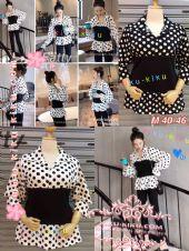 """เสื้อเชิ๊ต ลาย polkadot  แต่งผ้ายืดหยุ่น สีดำ ตามแบบ สวย น่ารักค่ะ M อก 40-46"""" /L อก 46-50"""""""