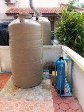 วางระบบและติดตั้งถังกรองFiber Grass และ ถังเก็บน้ำ พร้อมปั้มน้ำในบ้าน