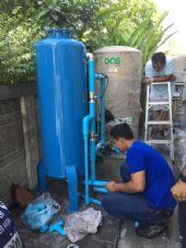 ติดตั้งถังกรองน้ำประปา 60 X 120 Cm. พร้อมปั้มจ่ายน้ำเข้าเครื่องกรอง +ถังเก็บน้ำ