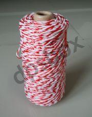 เชือกมัดกล่องพัสดุ ขาวแดง  ยาว 200 เมตร