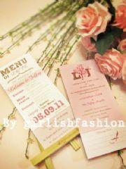 การ์ด: Menu Of Love :การ์ดแต่งงานลายเมนูแห่งรัก + Blessing Card ในตัว