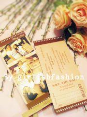 การ์ด: การ์ดแต่งงาน Movie Cut Idea  :การ์ดแต่งงานฟิลม์หนังสไตล์โมเดิร์น ใส่รูปได้3รูป