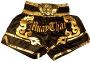 Muay Thai short black with gold waist gold elephant.