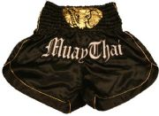 Muay Thai short black with gold trim and waist gold elephant.