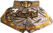 Muay Thai short gray with gold waist gold elephant.