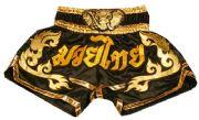 Muay Thai short black with gold waist gold elephant, Muay Thai in Thai.