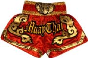 Muay Thai short red with gold waist gold elephant.