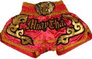 Muay Thai short pink with gold waist gold elephant.