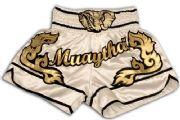 Muay Thai short white-black with gold waist gold elephant.